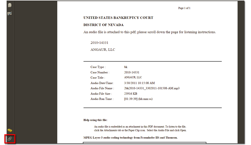 Cmecf audio files us bankruptcy court district of nevada screenshot of pdf file with paper clip icon altavistaventures Image collections